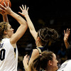 "University of Colorado's Rachel Hargis takes a shot over Northern Colorado's Kaisha Brown during the first round of the 2012 Women's NIT tournament on Wednesday, March 14, at the Coors Event Center on the CU campus in Boulder. For more photos and video of the game go to  <a href=""http://www.dailycamera.com"">http://www.dailycamera.com</a><br /> Jeremy Papasso/ Camera"