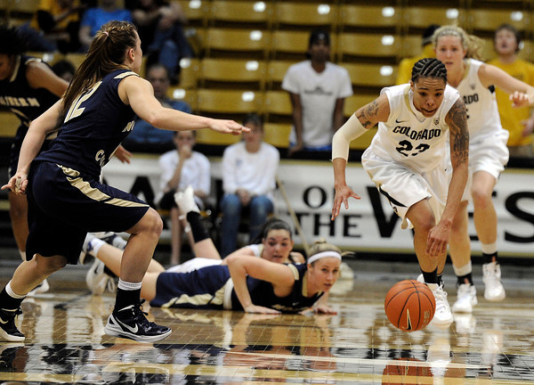 "University of Colorado's Chucky Jeffery steals the ball and drives past  Northern Colorado's Amy Marin, left, during the first round of the 2012 Women's NIT tournament on Wednesday, March 14, at the Coors Event Center on the CU campus in Boulder. CU won the game 54-40. For more photos and video of the game go to  <a href=""http://www.dailycamera.com"">http://www.dailycamera.com</a><br /> Jeremy Papasso/ Camera"