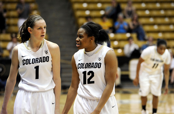 "University of Colorado's Lexy Kresl, left, talks with Ashley Wilson after defeating Northern Colorado during the first round of the 2012 Women's NIT tournament on Wednesday, March 14, at the Coors Event Center on the CU campus in Boulder. CU won the game 54-40. For more photos and video of the game go to  <a href=""http://www.dailycamera.com"">http://www.dailycamera.com</a><br /> Jeremy Papasso/ Camera"