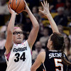 """University of Colorado's Jen Reese takes a shot over Samantha Siegner during a game against Oregon State on Friday, Feb. 8, at the Coors Event Center on the CU campus in Boulder. For more photos of the game go to  <a href=""""http://www.dailycamera.com"""">http://www.dailycamera.com</a><br /> Jeremy Papasso/ Camera"""