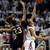 "University of Colorado's Arielle Roberson wins the tip off against ShaKiana Edwards-Teasley  during a game against Oregon State on Friday, Feb. 8, at the Coors Event Center on the CU campus in Boulder. For more photos of the game go to  <a href=""http://www.dailycamera.com"">http://www.dailycamera.com</a><br /> Jeremy Papasso/ Camera"