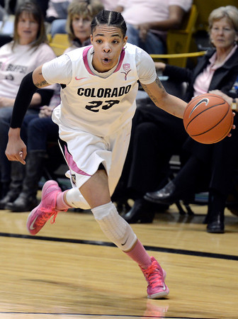 """University of Colorado's Chucky Jeffery dribbles towards the hoop during a game against Oregon State on Friday, Feb. 8, at the Coors Event Center on the CU campus in Boulder. CU won the game 61-47. For more photos of the game go to  <a href=""""http://www.dailycamera.com"""">http://www.dailycamera.com</a><br /> Jeremy Papasso/ Camera"""