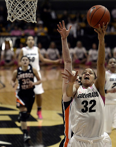 University of Colorado's Arielle Roberson takes a shot during a game against Oregon State on Friday, Feb. 8, at the Coors Event Center on the CU campus in Boulder. For more photos of the game go to www.dailycamera.com Jeremy Papasso/ Camera