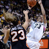 "University of Colorado's Chucky Jeffery takes a shot over ShaKiana Edwards-Teasley during a game against Oregon State on Friday, Feb. 8, at the Coors Event Center on the CU campus in Boulder. For more photos of the game go to  <a href=""http://www.dailycamera.com"">http://www.dailycamera.com</a><br /> Jeremy Papasso/ Camera"
