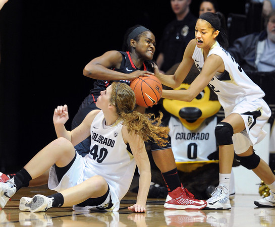"Chairese Culberson, center, of San Diego State, gets pressed by Rachel Hargis (40) and Arielle Roberson, both of Colorado, during the first half of the 26th Annual Omni Hotels Classic in Boulder, Colorado, on November 24, 2012.<br /> For more photos of the game, go to  <a href=""http://www.dailycamera.com"">http://www.dailycamera.com</a>.<br /> Cliff Grassmick / November 24, 2012"