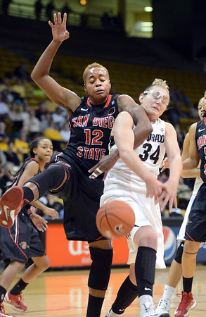 """Deajanae Scurry, left, of SDSU, and Jen Reese of Colorado, battle for a rebound during the first half of the 26th Annual Omni Hotels Classic in Boulder, Colorado, on November 24, 2012.<br /> For more photos of the game, go to  <a href=""""http://www.dailycamera.com"""">http://www.dailycamera.com</a>.<br /> Cliff Grassmick / November 24, 2012"""
