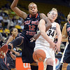 "Deajanae Scurry, left, of SDSU, and Jen Reese of Colorado, battle for a rebound during the first half of the 26th Annual Omni Hotels Classic in Boulder, Colorado, on November 24, 2012.<br /> For more photos of the game, go to  <a href=""http://www.dailycamera.com"">http://www.dailycamera.com</a>.<br /> Cliff Grassmick / November 24, 2012"