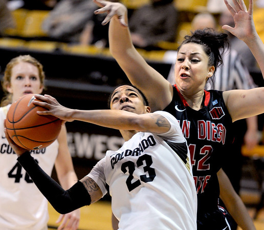"""Chucky Jeffery of CU goes up on Malia Nahinu of SDSU during the second half of the 26th Annual Omni Hotels Classic in Boulder, Colorado, on November 24, 2012.<br /> For more photos of the game, go to  <a href=""""http://www.dailycamera.com"""">http://www.dailycamera.com</a>.<br /> Cliff Grassmick / November 24, 2012"""