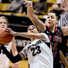 "Chucky Jeffery of CU goes up on Malia Nahinu of SDSU during the second half of the 26th Annual Omni Hotels Classic in Boulder, Colorado, on November 24, 2012.<br /> For more photos of the game, go to  <a href=""http://www.dailycamera.com"">http://www.dailycamera.com</a>.<br /> Cliff Grassmick / November 24, 2012"