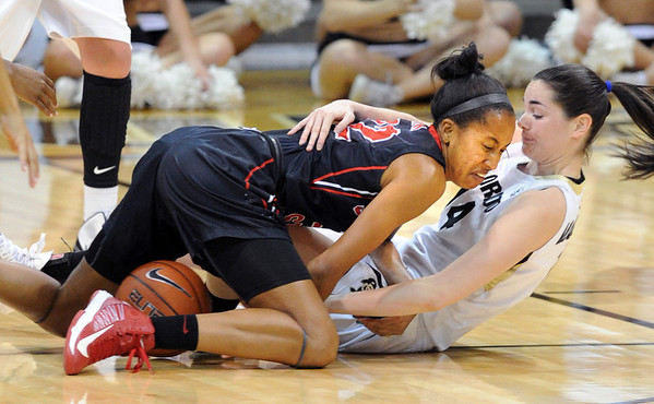 """Gabrielle Clark, left, of San Diego State, wrestles for the ball with Meagan Malcolm-Peck of Colorado during the second half of the 26th Annual Omni Hotels Classic in Boulder, Colorado, on November 24, 2012.<br /> For more photos of the game, go to  <a href=""""http://www.dailycamera.com"""">http://www.dailycamera.com</a>.<br /> Cliff Grassmick / November 24, 2012"""