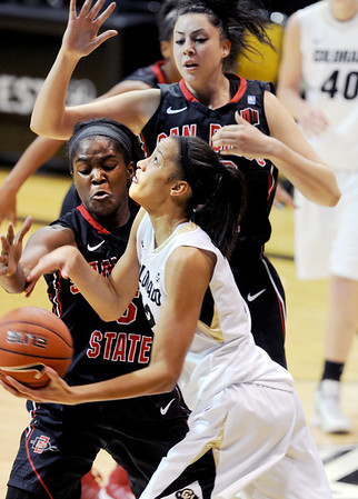 """Areille Roberson of CU goes back up on Chairese Culberson of SDSU during the second half of the 26th Annual Omni Hotels Classic in Boulder, Colorado, on November 24, 2012.<br /> For more photos of the game, go to  <a href=""""http://www.dailycamera.com"""">http://www.dailycamera.com</a>.<br /> Cliff Grassmick / November 24, 2012"""