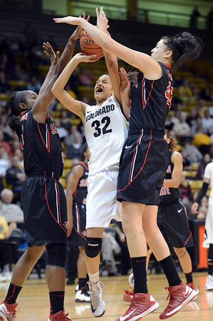 "Areille Roberson of Colorado drives into Gabrielle Clark, left, and Malia Nahinu, both of SDSU during the first half of the 26th Annual Omni Hotels Classic in Boulder, Colorado, on November 24, 2012.<br /> For more photos of the game, go to  <a href=""http://www.dailycamera.com"">http://www.dailycamera.com</a>.<br /> Cliff Grassmick / November 24, 2012"