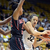 "Areilee Roberson of Colorado tries to get away from Gabrielle Clark of San Diego State, during the first half of the 26th Annual Omni Hotels Classic in Boulder, Colorado, on November 24, 2012.<br /> For more photos of the game, go to  <a href=""http://www.dailycamera.com"">http://www.dailycamera.com</a>.<br /> Cliff Grassmick / November 24, 2012"