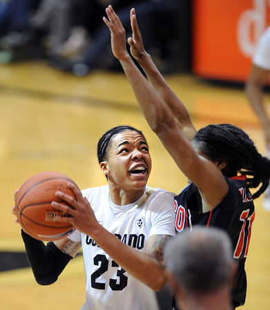 """Cucky Jeffery of CU looks to score on Ahjalee Harvey of SDSU during the second half of the 26th Annual Omni Hotels Classic in Boulder, Colorado, on November 24, 2012.<br /> For more photos of the game, go to  <a href=""""http://www.dailycamera.com"""">http://www.dailycamera.com</a>.<br /> Cliff Grassmick / November 24, 2012"""