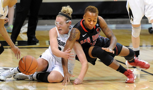 "Jen Reese, left, of Colorado, and Deajanae Scurry  of San Diego State, go down to the floor to get a loose ball during the second half of the 26th Annual Omni Hotels Classic in Boulder, Colorado, on November 24, 2012.<br /> For more photos of the game, go to  <a href=""http://www.dailycamera.com"">http://www.dailycamera.com</a>.<br /> Cliff Grassmick / November 24, 2012"