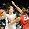 "University of Colorado's Rachel Hargis looks to pass the ball over Joslyn Tinkle during a game against Stanford on Friday, Jan. 4, at the Coors Event Center on the CU campus in Boulder. For more photos of the game go to  <a href=""http://www.dailycamera.com"">http://www.dailycamera.com</a><br /> Jeremy Papasso/ Camera"