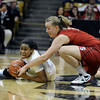 "University of Colorado's Ashley Wilson fights for a loose ball with Mikaela Ruef during a game against Stanford on Friday, Jan. 4, at the Coors Event Center on the CU campus in Boulder. For more photos of the game go to  <a href=""http://www.dailycamera.com"">http://www.dailycamera.com</a><br /> Jeremy Papasso/ Camera"
