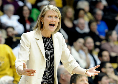 University of Colorado Head Coach Linda Lappe argues a call with the referee during a game against Stanford on Friday, Jan. 4, at the Coors Event Center on the CU campus in Boulder. For more photos of the game go to www.dailycamera.com Jeremy Papasso/ Camera