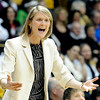 "University of Colorado Head Coach Linda Lappe argues a call with the referee during a game against Stanford on Friday, Jan. 4, at the Coors Event Center on the CU campus in Boulder. For more photos of the game go to  <a href=""http://www.dailycamera.com"">http://www.dailycamera.com</a><br /> Jeremy Papasso/ Camera"