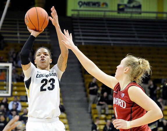 "University of Colorado's Chucky Jeffery takes a shot over Taylor Greenfield during a game against Stanford on Friday, Jan. 4, at the Coors Event Center on the CU campus in Boulder. For more photos of the game go to  <a href=""http://www.dailycamera.com"">http://www.dailycamera.com</a><br /> Jeremy Papasso/ Camera"