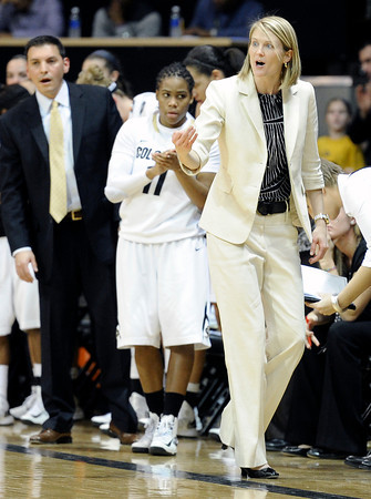 "University of Colorado Head Coach Linda Lappe yells to her team during a game against Stanford on Friday, Jan. 4, at the Coors Event Center on the CU campus in Boulder. For more photos of the game go to  <a href=""http://www.dailycamera.com"">http://www.dailycamera.com</a><br /> Jeremy Papasso/ Camera"