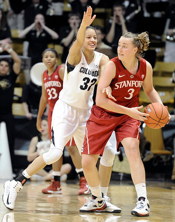 """University of Colorado's Arielle Roberson plays defense on Mikaela Ruef during a game against Stanford on Friday, Jan. 4, at the Coors Event Center on the CU campus in Boulder. For more photos of the game go to  <a href=""""http://www.dailycamera.com"""">http://www.dailycamera.com</a><br /> Jeremy Papasso/ Camera"""