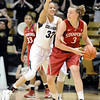 "University of Colorado's Arielle Roberson plays defense on Mikaela Ruef during a game against Stanford on Friday, Jan. 4, at the Coors Event Center on the CU campus in Boulder. For more photos of the game go to  <a href=""http://www.dailycamera.com"">http://www.dailycamera.com</a><br /> Jeremy Papasso/ Camera"