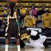 """University of Colorado mascot """"Chip"""" holds a """" your cute """" sign while trying to distract Chelan Landry's free-throw during a game against the University of Wyoming on Wednesday, Nov. 28, at the Coors Event Center on the CU campus in Boulder. For more photos of the game go to  <a href=""""http://www.dailycamera.com"""">http://www.dailycamera.com</a><br /> Jeremy Papasso/ Camera"""