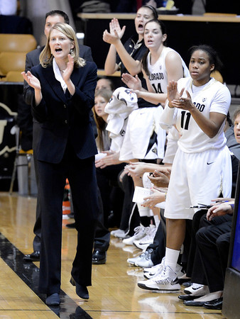 "University of Colorado Head Coach Linda Lappe cheers after a CU basket during a game against the University of Wyoming on Wednesday, Nov. 28, at the Coors Event Center on the CU campus in Boulder. For more photos of the game go to  <a href=""http://www.dailycamera.com"">http://www.dailycamera.com</a><br /> Jeremy Papasso/ Camera"