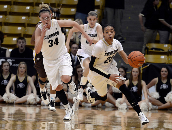 "University of Colorado's Chucky Jeffery dribbles the ball up the court on a fast break during a game against the University of Wyoming on Wednesday, Nov. 28, at the Coors Event Center on the CU campus in Boulder. For more photos of the game go to  <a href=""http://www.dailycamera.com"">http://www.dailycamera.com</a><br /> Jeremy Papasso/ Camera"