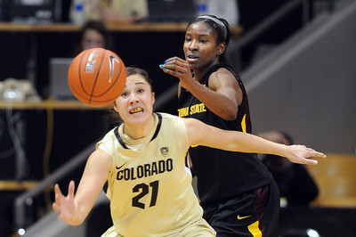 Jasmine Sborov of CU and Kimberly Brandon of ASU try to get to the ball during the first half of the February 11, 2012 game in Boulder. For more photos of the game, go to www.dailycamera.com. February 11, 2012 / Cliff Grassmick
