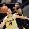 "Jasmine Sborov of CU and Kimberly Brandon of ASU try to get to the ball during the first half of the February 11, 2012 game in Boulder.<br /> For more photos of the game, go to  <a href=""http://www.dailycamera.com"">http://www.dailycamera.com</a>.<br /> February 11, 2012 / Cliff Grassmick"