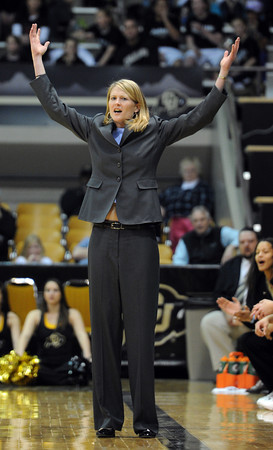 """CU coach Linda Lappe can't believe the non-call<br /> during the first half of the February 11, 2012 game in Boulder.<br /> For more photos of the game, go to  <a href=""""http://www.dailycamera.com"""">http://www.dailycamera.com</a>.<br /> February 11, 2012 / Cliff Grassmick"""