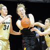 "Kali Bennett, center, of Arizona State, gets doubled by Jen Reese, left, and Lexy Kresl, both of Colorado, during the first half of the February 11, 2012 game in Boulder.<br /> For more photos of the game, go to  <a href=""http://www.dailycamera.com"">http://www.dailycamera.com</a>.<br /> February 11, 2012 / Cliff Grassmick"
