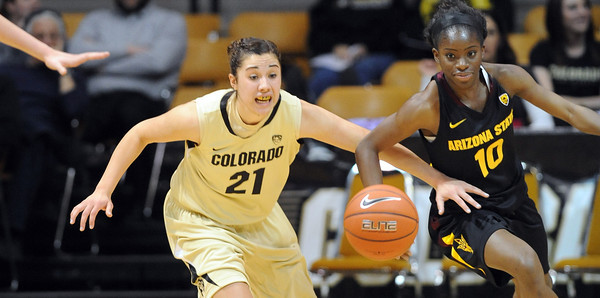 "Jamine Sborov, left, of CU, and Promise Amukamara of ASU track down a loose ball during the first half of the February 11, 2012 game in Boulder.<br /> For more photos of the game, go to  <a href=""http://www.dailycamera.com"">http://www.dailycamera.com</a>.<br /> February 11, 2012 / Cliff Grassmick"