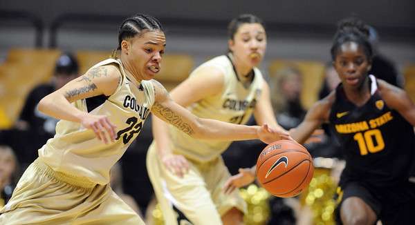 """Chucky Jeffery of CU gets a steal against ASU  during the first half of the February 11, 2012 game in Boulder.<br /> For more photos of the game, go to  <a href=""""http://www.dailycamera.com"""">http://www.dailycamera.com</a>.<br /> February 11, 2012 / Cliff Grassmick"""