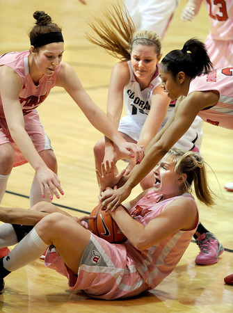 """Taryn Wicijowski of Utah called a timeout before  Julie Seabrook of CU, can get to her during the second half of the February 18, 2012 game in Boulder.<br /> For more photos of the game, go to  <a href=""""http://www.dailycamera.com"""">http://www.dailycamera.com</a>.<br /> February 18, 2012 / Cliff Grassmick"""