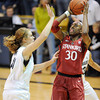 """Nnemkadi Ogwumike of Stanford shoots over Rachel Hargis ofCU in the first half.<br /> For more photos of the game, go to  <a href=""""http://www.dailycamera.com"""">http://www.dailycamera.com</a>.<br /> January 14, 2012 / Cliff Grassmick"""