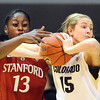 """Julie Seabrok (15) of CU, gets a rebound in front of Chiney Ogwumike of Stanford.<br /> For more photos of the game, go to  <a href=""""http://www.dailycamera.com"""">http://www.dailycamera.com</a>.<br /> January 14, 2012 / Cliff Grassmick"""