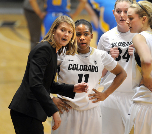 "CU coach, Linda Lappe, talks to Brittany Wilson (11) during a timeout<br /> during the second half of the January 29, 2012 game in Boulder. <br /> For more photos of the game, go to  <a href=""http://www.dailycamera.com"">http://www.dailycamera.com</a>.<br /> January 29, 2012 / Cliff Grassmick"