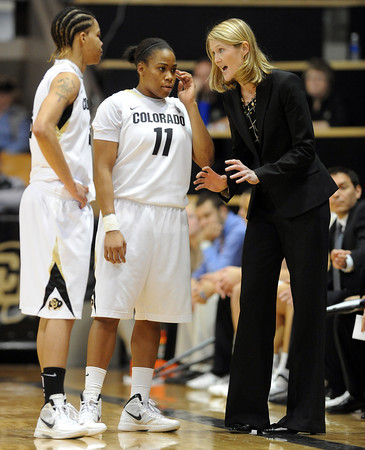 "Linda Lappe talks to Chucky Jeffery and Brittany Wilson<br /> during the first half of the January 29, 2012 game in Boulder. <br /> For more photos of the game, go to  <a href=""http://www.dailycamera.com"">http://www.dailycamera.com</a>.<br /> January 29, 2012 / Cliff Grassmick"