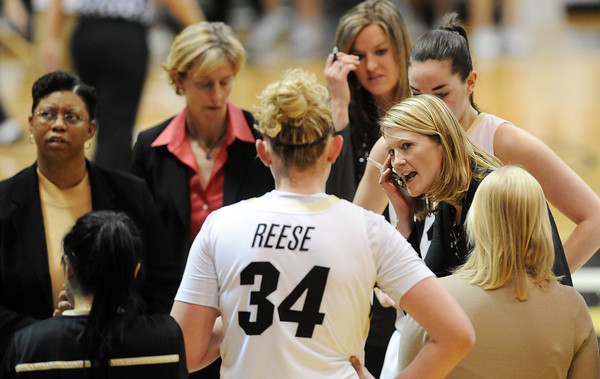 "CU coach, Linda Lappe, talks to the team <br /> during the second half of the January 29, 2012 game in Boulder. <br /> For more photos of the game, go to  <a href=""http://www.dailycamera.com"">http://www.dailycamera.com</a>.<br /> January 29, 2012 / Cliff Grassmick"