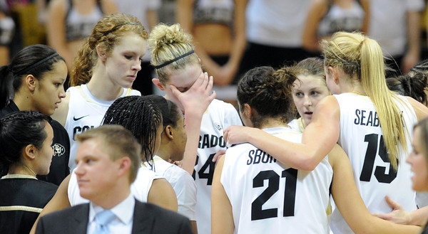 """The Colorado Buffaloes were disappointed with the overtime loss to UCLA on January 29, 2012 game in Boulder. <br /> For more photos of the game, go to  <a href=""""http://www.dailycamera.com"""">http://www.dailycamera.com</a>.<br /> January 29, 2012 / Cliff Grassmick"""