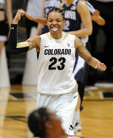 "Chucky Jeffery of CU celebrates the 48- 47 win over Villanova. <br /> For more photos of the game, go to  <a href=""http://www.dailycamera.com"">http://www.dailycamera.com</a>.<br />  Cliff Grassmick / March 22, 2012"