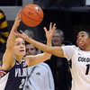 "Rachel Roberts, left, of Villanova, tries to keep the ball from Brittany Wilson of Colorado during the first half of the March 22, 2012 game in Boulder. <br /> For more photos of the game, go to  <a href=""http://www.dailycamera.com"">http://www.dailycamera.com</a>.<br />  Cliff Grassmick / March 22, 2012"
