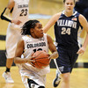 "Ashley Wilson of CU drives to the basket against Vilanova<br /> during the second half of the March 22, 2012 game in Boulder. <br /> For more photos of the game, go to  <a href=""http://www.dailycamera.com"">http://www.dailycamera.com</a>.<br />  Cliff Grassmick / March 22, 2012"
