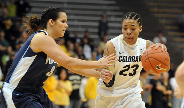 "Chucky Jeffery of CU dribbles past Jesse Carey of Villanova<br /> during the first half of the March 22, 2012 game in Boulder. <br /> For more photos of the game, go to  <a href=""http://www.dailycamera.com"">http://www.dailycamera.com</a>.<br />  Cliff Grassmick / March 22, 2012"