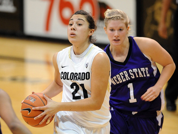 "Jasmine Sborov of Colorado drives past Laura Palmere of Weber State on Saturday.<br /> For more photos of the game, go to  <a href=""http://www.dailycamera.com"">http://www.dailycamera.com</a>.<br /> December 17, 2011 / Cliff Grassmick"