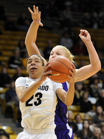 "Chucky Jeffery of Colorado shoots under Mikell Woodfield of Weber State on Saturday.<br /> For more photos of the game, go to  <a href=""http://www.dailycamera.com"">http://www.dailycamera.com</a>.<br /> December 17, 2011 / Cliff Grassmick"