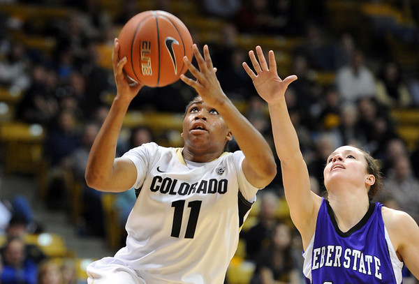 "Brittany Wilson of Colorado scores past Jordan Pfau of Weber State.<br /> For more photos of the game, go to  <a href=""http://www.dailycamera.com"">http://www.dailycamera.com</a>.<br /> December 17, 2011 / Cliff Grassmick"